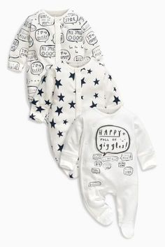 Buy Monochrome Slogan Sleepsuits Three Pack (0mths-2yrs) online today at Next: United States of America