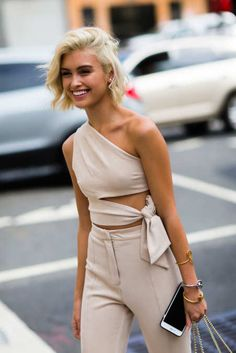 Neutral but still bold outfit, modern unusual top, high waisted pants, few good accessories - youthful attitude - Sarah Ellen