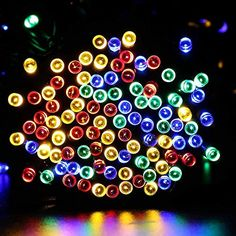 Qedertek Fairy Decorative Christmas Solar String Lights, 72ft 200 LED Lights for Indoor and Outdoor, Home, Lawn, Garden, Party, and Holiday Decorations (Multi Color)