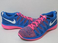 WMNS NIKE FLYKNIT LUNAR 2 Running Shoes Pink/Blue/White 620658 602  #Nike #RunningCrossTraining