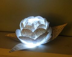 The Book Pages Mini Lantern Paper Rose Flower Light Decoration with LED Light