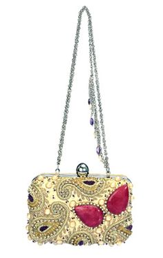 ivory paisley embbroidered clutch