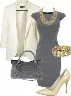 white blazer, cream pumps, grey dress with grey purse and gold accessories | polyvore collection for professional woman