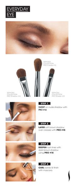 PRO Brush HOW TO: Everyday Eye , make up, maquillage naturel, brunette All Things Beauty, Beauty Make Up, My Beauty, Beauty Secrets, Beauty Hacks, Hair Beauty, Beauty Tips, It Cosmetics Brushes, Makeup Brushes
