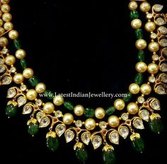 Polki ruby and emerald necklace India Jewelry, Ethnic Jewelry, Pearl Jewelry, Wedding Jewelry, Diamond Jewelry, Antique Jewelry, Gold Jewelry, Beaded Jewelry, Traditional Indian Jewellery