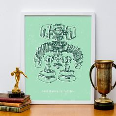 Robot Resistance is Futile 11x14 Print Poster by HappyLittleGarden, $18.00