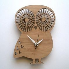 Modern Baby Clock Owl by decoylab on Etsy Modern Kids Decor, Owl Clock, Owl Kitchen, Cd R, Hanging Clock, Clock For Kids, Kids Clocks, Wood Owls, Wooden Clock