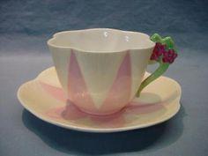 Shelley Harlequin Flower Handle Teacup & Saucer - Rare