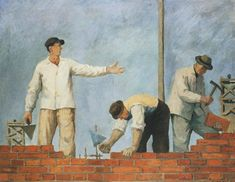 """Aleksander Kobzdej , """"Pass-on the brick"""", National Museum, Wroclaw Modern Art Styles, Socialist Realism, Ways Of Seeing, Modern Artists, National Museum, Pose Reference, Art Projects, My Arts, Abstract"""