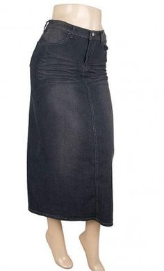 Womens vintage modest stonewash denim jean skirts with no back slit and embroidered pockets