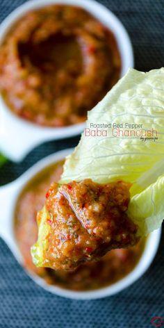 Roasted Red Pepper Baba Ghanoush | giverecipe.com | #babaghanoush #eggplant #aubergine #redbellpepper #snack #dip