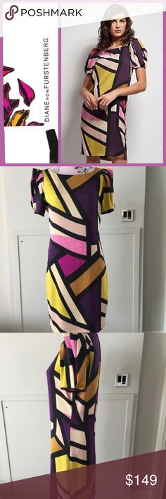 "DVF ""Lionel Silk Dress. Size 6 DVF ""Lionel Silk Dress. Size 6.  100% silk. This dress has beautiful, vibrant geometric print and interesting sleeves. Size is cut out because it was itchy. Measurements coming. Excellent condition Diane von Furstenberg Dresses Midi"