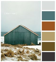 Colour palette: Iced blue, muted teal, copper, dark cream, moss green/brown and dark grey
