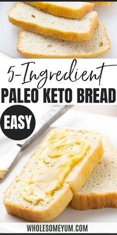 Easy Paleo Keto Bread Recipe - 5 Ingredients - If you want to know how to make the BEST keto bread recipe, this is it! It makes fluffy white paleo bread that's quick & easy. Just 5 basic ingredients! #wholesomeyum #keto #lowcarb #bread #paleo #ketobread Best Keto Bread, Low Carb Bread, Paleo Bread, Bread Recipes, Real Food Recipes, Keto Recipes, Snack Recipes, Cooking Recipes, Recipes Dinner