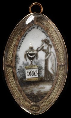 Locket   1775-1800   Engraved gold ,ivory painted in watercolour with a miniature embellished with hair and pearls