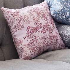 This floral design was inspired by the gypsophila that was used at Lorna's wedding, in jars, lining the aisle, a happy reminder of that day. #cushion #homedesign #interiordesignlivingroom #interiordesignideasbedroom Floral Cushions, Pink Feathers, Gypsophila, Linen Fabric, Interior Design Living Room, Living Spaces, Floral Design, House Design, Throw Pillows