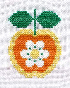 Cross Stitch Pattern, 'Retro Apple Flower' PDF
