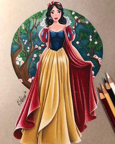 Snow White Drawing, Snow White Art, Snow White Disney, Disney Princess Art, Disney Princess Dresses, Disney Fan Art, Disney Style, Art Zombie, Snow White Cosplay