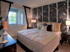 Modern bedroom. Love the wallpaper instead of big pictures