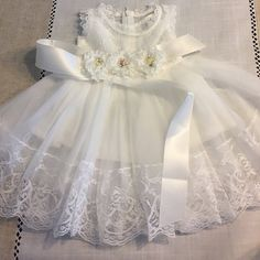 See more from this shop on Etsy, a global marketplace of creative businesses. See more from this shop on Etsy, a global marketplace of creative businesses. Christening Gowns Girls, Baptism Dress, Little Girl Dresses, Girls Dresses, Baby Dresses, Flower Girls, Flower Girl Dresses, Dress Girl, Blessing Dress