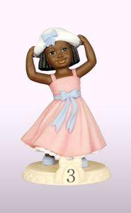 """  Ebony Birthday Girl Age 3 Figurine Dimension: 7¾""""H"""