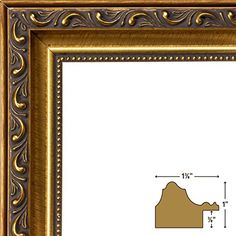Craig Frames Ancien Ornate, Antique Gold Picture Frame, 24 by