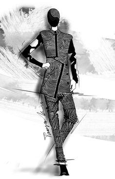 abstract / fashion / illustration / sketch / Tanya-Kancheva-Kenzo-Fall-2014