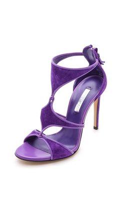 Purple Casadei Cutout Suede Sandals!