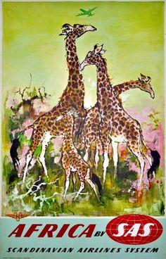 Africa SAS Giraffes Nielsen, 1960s - original vintage poster by Otto Nielsen listed on AntikBar.co.uk #WorldGiraffeDay
