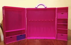 Why is it so hard to find a case with a wardrobe?    Barbie Wardrobe Carry Case ClothesTrunk Closet Drawer Storage Holds 3 Dolls Pink | eBay