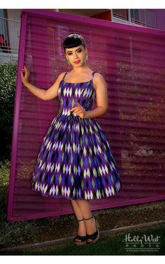 Jenny Dress in Purple and Green Harlequin Print, Jasmin Rodriguez/Vintage Vandalizm