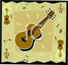 Royalty Free Clipart Image: Music Notes and an Acoustic Guitar