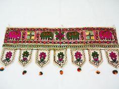 Elephant toran, indian kutchtextile, wall/window hanging, vintage embroidery…