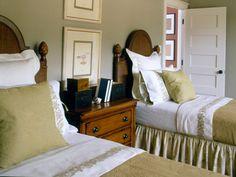 Bedroom with greenish-gray walls and bedding. Photo: John OHagan - Coastal Living's Palmetto Preserve Idea House: www.coastalliving.com/homes/idea-houses/palmetto-preserve-00400000000957