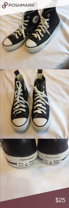 black leather converse womens size 4