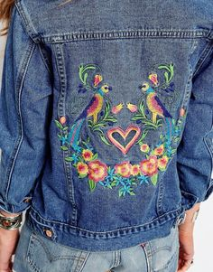Image 3 ofGlamorous Petite Denim Jacket With Bird And Floral Embroidery