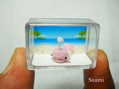 Micro Pink Whale Dolphin - Dollhouse Miniature Crochet Whale Dolphin - Made to Order
