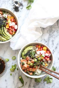 Salmon Poke Bowl Recipe with Avocado, Pickled Radishes, Carrots and Spicy Ponzu | Healthy, Gluten-Free, Hawaiian | www.feedmephoebe.com