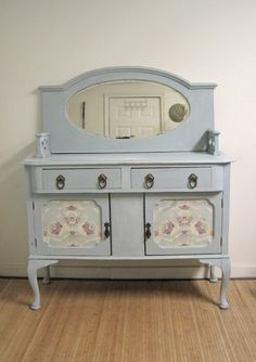 Queen Ann distressed sideboard/buffet with fabric panels… Furniture, Redo Furniture, Painted Furniture, Cool Diy Projects, Distressed Sideboard, Repurposed Furniture, Furniture Making, Furniture Inspiration, Pretty Furniture