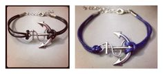 Anchor Bracelets - Navy Blue or Black - QUICK SHIP! $5.99 #Nautical