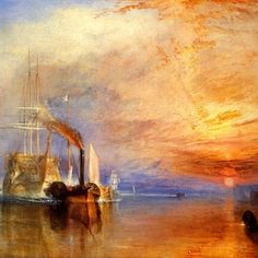 It's a William Turner Morning. The Fighting Temeraire tugged to her last berth to be broken up, 1838 Joseph Mallord William Turner. The one and only forever out of reach, any Turner would be welcome on my walls. Joseph Mallord William Turner, Pinterest Pinturas, Art Romantique, Turner Painting, National Gallery, Oil Painting Reproductions, Will Turner, Fine Art, Renoir
