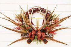 CUSTOM ORDER WREATH Hunters Christmas Wildlife Buck Antler Wreath by DesignsbyTinaCollins on Etsy https://www.etsy.com/listing/254648706/custom-order-wreath-hunters-christmas