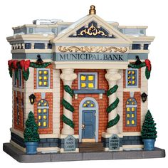Lemax Municipal Bank. SKU# 65082. Released in 2016 as a Lighted Building for the Caddington Collection.