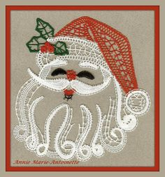I wish it linked to a pricking! Bobbin Lacemaking, Lace Heart, Lace Jewelry, Father Christmas, Merry Christmas, Needle Lace, Lace Patterns, Lace Design, String Art