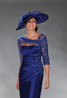 Short blue dress with ruched waist and net sleeves  Product Code:8724