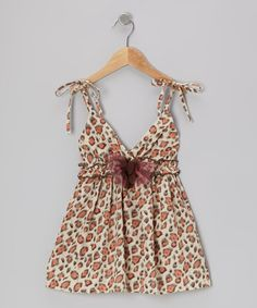 Take a look at this Beige Leopard Rosette Dress - Toddler & Girls by Mia Belle Baby on #zulily today!