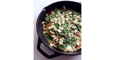 Classic Mediterranean ingredients like peppers, onion, and spinach bring texture, flavor, and nutrition to the dish, while egg whites and feta provide over 20 grams of protein to this low-calorie frittata that actress Lea Michele loves any time of