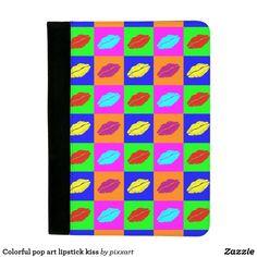 Colorful pop art lipstick kiss padfolio