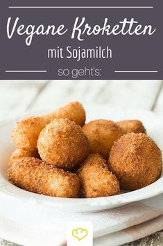 Vegan croquettes- Vegane Kroketten These vegan croquettes from the oven do not need any cow& milk and egg as a bond, but they are just as tasty and crispy as the classic ones. Vegan Croquettes, Base Foods, Going Vegan, Raw Vegan, Raw Food Recipes, Vegetarian Recipes, Dinner Recipes, Food Inspiration, Food And Drink
