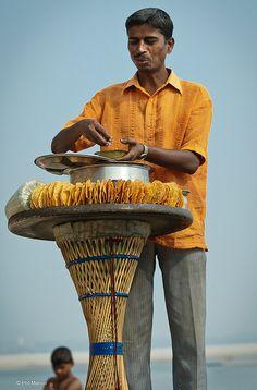 Serving Street Food in Varanasi, India